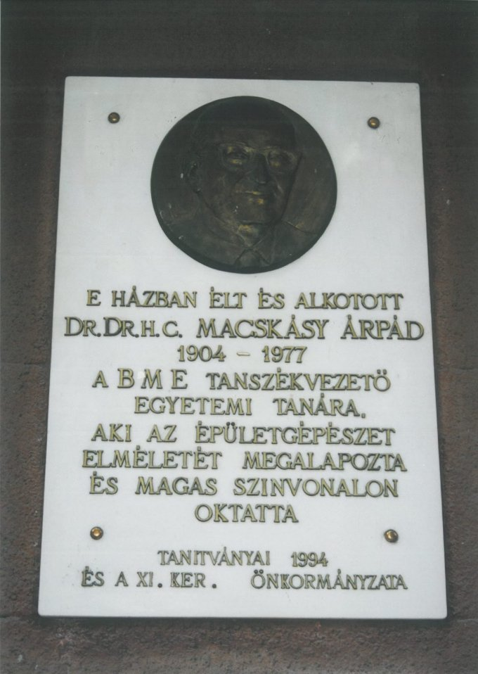 Macskássy Árpád emléktábla