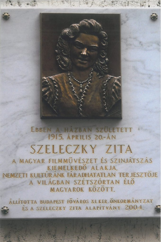 Szeleczky Zita emléktábla